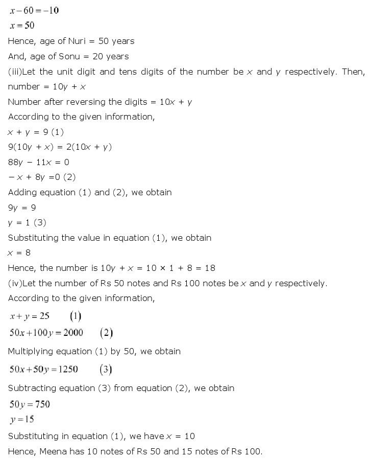 NCERT Solutions for Class 10th Maths Chapter 3 – Pair of Linear Equations in Two Variables